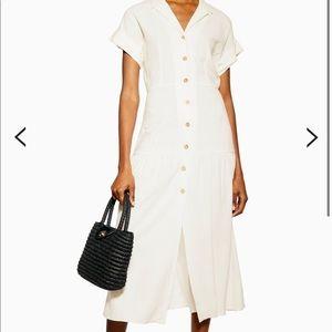 NWT Topshop ivory linen blend shirt midi dress
